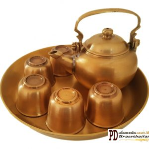 ชุดกาน้ำชาทองเหลือง กาแป้น