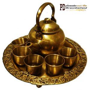 ชุดกาน้ำชาทองเหลือง ถาดลายองุ่น