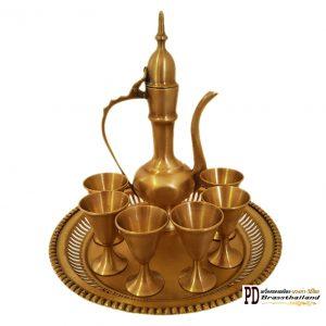 ชุดกาน้ำชาทองเหลือง ทรงอินเดีย