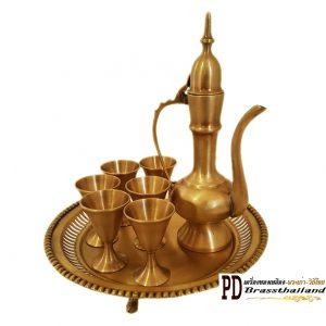 ชุดกาน้ำชาทองเหลืองโบราณทรงอินเดีย
