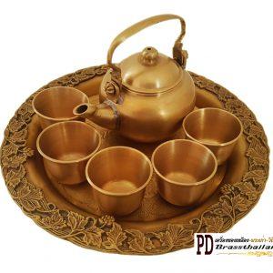 กาน้ำชาถาดองุ่นทองเหลือง