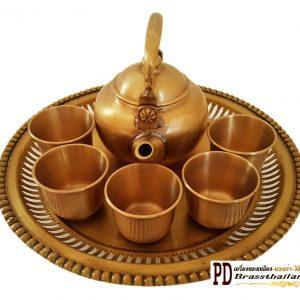 ชุดกาน้ำชาทองเหลืองแป้นถาดซี่