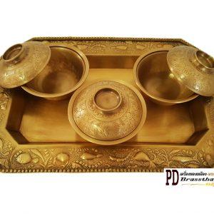 ชุดถวายข้าวพระพุทธตอกลายทองเหลือง Set T3