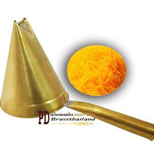 กรวยโรยฝอยทอง ขนมไทย ทองเหลือง
