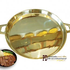 กระทะจานร้อนทองเหลือง กะทะโคขุน