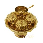 ชุดถวายข้าวพระลายฟักทอง 7 นิ้ว ทองเหลือง